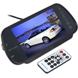 7 Inch Bluetooth Color Touch Screen Car Monitor Rear View Mirror with Remote Control, USB and SD Inputs