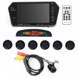 7 Inch TFT HD Rearview Mirror Monitor with 6 Black Parking Sensors and Rearview Camera Automotive Car Accessory