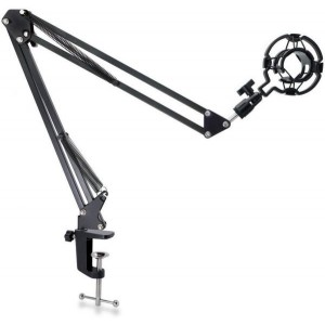 Adjustable Microphone Suspension Boom Scissor Arm Stand with Shock Mount Mic Clip