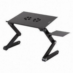 Aluminum alloy Adjust in 360 degree Highlights Multi-Functional portable desk is portable and eay to assemble , Laptop Stand With 2 Cooling Fan E Table [L]