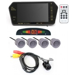 Automotive Car Accessory Combo of 7 Inch TFT HD Rearview Mirror Monitor, Grey Parking Sensors, Camera