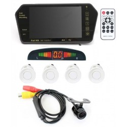 Automotive Car Accessory Combo of 7 Inch TFT HD Rearview Mirror Monitor, White Parking Sensors, Camera