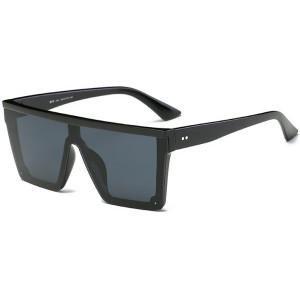 DONNA Cool Oversized Flat Square Aviator Shades D89-A08(Glossy Black) Unisex