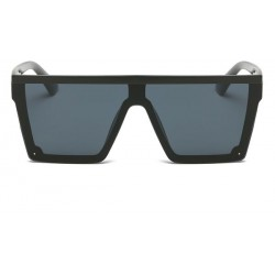 DONNA Cool Unisex Oversized Flat Top Sunglasses Square Aviator Shades D89-A08‫(Glossy Black)