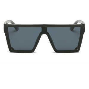 DONNA Cool Unisex Oversized Flat Top Sunglasses Square Aviator Shades D89-A08(Glossy Black)