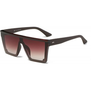 DONNA Cool Unisex Oversized Flat Top Sunglasses Square Aviator Shades D89-VY09(Gradient Brown)