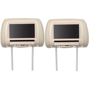 Car Headrest Monitor with Remote Control, USB Port and DVD Player, 7 Inch - Beige
