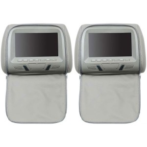 Car Headrest Monitor with Remote Control, USB Port and DVD Player, 7 Inch - Grey